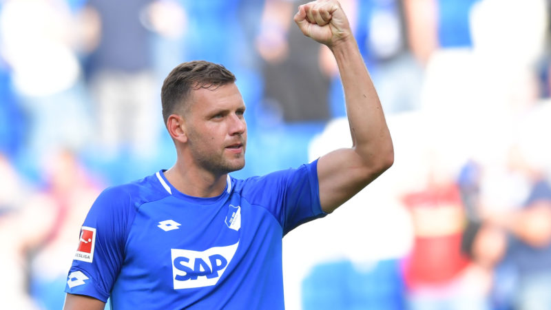 01.09.2018, Baden-Württemberg, Sinsheim, Soccer: Bundesliga, 1899 Hoffenheim - SC Freiburg, 2nd matchday, in the Rhein-Neckar-Arena. Hoffenheim's Adam Szalai is happy about the victory together with the fans. Photo: Uwe Anspach/dpa - IMPORTANT NOTICE: DFL regulations prohibit any use of photographs as image sequences and/or quasi-video.