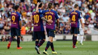 Jordi Alba of FC Barcelona celebrating his goal with Leo Messi of FC Barcelona during the La Liga game between FC Barcelona against Huesca in Camp Nou Stadium at Barcelona, on 02 of September of 2018, Spain. (Photo by Xavier Bonilla/NurPhoto)