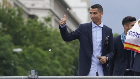 Cristiano Ronaldo of Real Madrid CF celebrates their Champions League victory at Cibeles Square a day after winning their 13th European Cup and UEFA Champions League Final on May 27, 2018 in Madrid, Spain. (Photo by Oscar Gonzalez/NurPhoto)