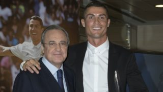 Real Madrid's Portuguese forward Cristiano Ronaldo, and club president Florentino Perez  during the official presentation of Ronaldo's contract renewal, in the presidential box at the Santiago Bernabeu stadium in Madrid on November 7, 2016.  (Photo by Oscar Gonzalez/NurPhoto)