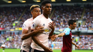 BURNLEY, ENGLAND - SEPTEMBER 02: Marcus Rashford of Manchester United is restrained by team-mate Jesse Lingard during the Premier League match between Burnley FC and Manchester United at Turf Moor on September 2, 2018 in Burnley, United Kingdom. (Photo by Chris Brunskill/Fantasista/Getty Images)