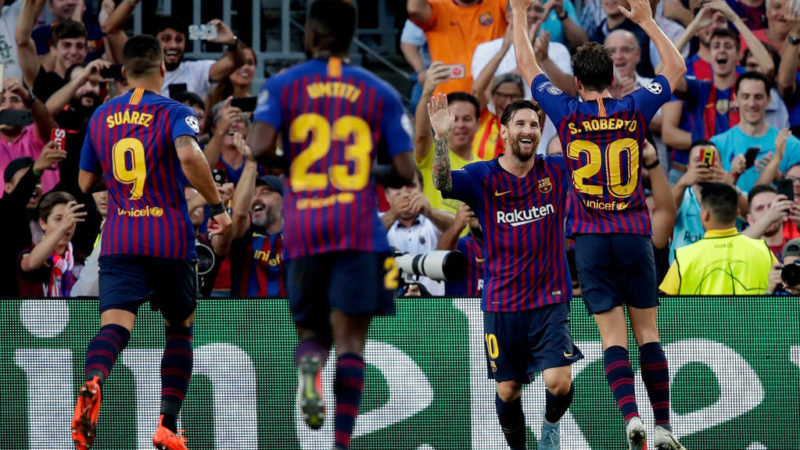 BARCELONA, SPAIN - SEPTEMBER 18: Lionel Messi of FC Barcelona celebrates 1-0 during the UEFA Champions League  match between FC Barcelona v PSV at the Camp Nou on September 18, 2018 in Barcelona Spain (Photo by David S. Bustamante/Soccrates/Getty Images)