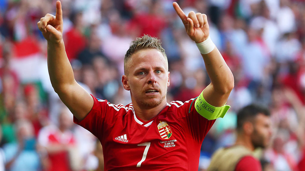 LYON, FRANCE - JUNE 22:  Balazs Dzsudzsak of Hungary celebrates scoring his team's second goal during the UEFA EURO 2016 Group F match between Hungary and Portugal at Stade des Lumieres on June 22, 2016 in Lyon, France.  (Photo by Julian Finney/Getty Images)