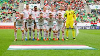 BUDAPEST, HUNGARY - JUNE 9: The team of Hungary (upper row (l-r): Adam Szalai, Paulo Vinicius, Janos Szabo, Krisztian Vadocz, Tamas Kadar, Peter Gulacsi; bottom row (l-r): Jozsef Varga, Roland Varga, Roland Sallai, Gergo Lovrencsics, Laszlo Kleinheisler) during the International Friendly match between Hungary and Australia at Groupama Arena on June 9, 2018 in Budapest, Hungary. (Photo by Laszlo Szirtesi/Getty Images)