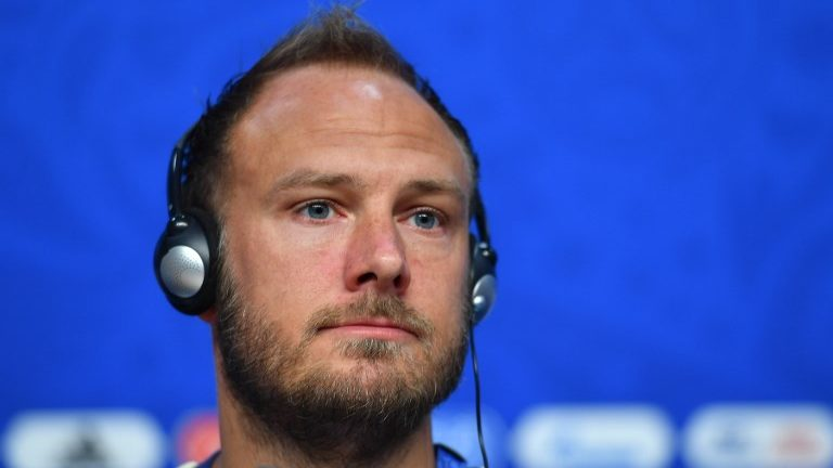 Sweden's defender Andreas Granqvist attends a press conference on the eve of the Russia 2018 FIFA World Cup quarter final football match between Sweden and England at the Samara Arena on July 6, 2018 in Samara.   / AFP PHOTO / Yuri CORTEZ