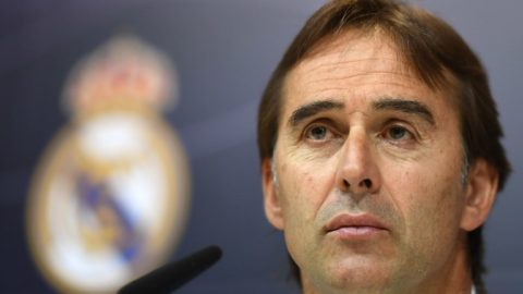 Real Madrid's Spanish coach Julen Lopetegui gives a press conference at the Valdebebas training ground in Madrid on October 19, 2018. - Real Madrid and Barcelona cannot avoid heading into next week's Clasico under pressure but each have two games to lift the mood at least, ahead of the pivotal clash at the Camp Nou. (Photo by GABRIEL BOUYS / AFP)