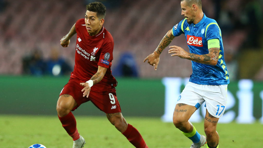 SSC Napoli v FC Liverpool - UEFA Champions League Group C Roberto Firmino of Liverpool and Marek Hamsik of Napoli at San Paolo Stadium in Naples, Italy on October 3, 2018.  (Photo by Matteo Ciambelli/NurPhoto)