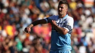 Sergej Milinkovic-Savic of SS Lazio during the Italian Serie A 2018/2019 match between AS Roma and SS Lazio at Stadio Olimpico on September 29, 2018 in Rome, Italy. (Photo by Danilo Di Giovanni/NurPhoto)