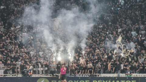 Clashes between fans and riot police during the Greek Cup Final  between AEK Athens F.C. and PAOK FC at Athens Olympic Sports in Athens, Greece on May 12, 2018 (Photo by Dimitris Lampropoulos/NurPhoto)