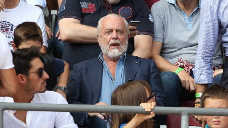 Aurelio De Laurentiis, president of SSC Napoli, during the Serie A football match between Torino FC and SSC Napoli at Olympic Grande Torino Stadium on September 23, 2018 in Turin, Italy.  Torino FC lost 1-3 against Napoli. (Photo by Massimiliano Ferraro/NurPhoto)