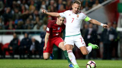 Hungary's forward Balazs Dzsudzsak (R ) vies with Portugal's defender Raphael Guerreiro during the FIFA World Cup Russia 2018 qualifier match Portugal vs Hungary at the Luz stadium in Lisbon, Portugal on March 25, 2017.  ( Photo by Pedro Fiúza/NurPhoto)