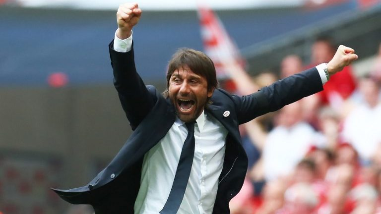Chelsea manager Antonio Conte  celebrates the 2nd goal during the FA Cup semi-final  match between Chelsea and Southampton at Wembley, London, England on 22 April 2018.    (Photo by Kieran Galvin/NurPhoto)
