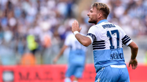 Ciro Immobile of Lazio during the Serie A match between Lazio and Fiorentina at Stadio Olimpico, Rome, Italy on 7 October 2018. (Photo by Giuseppe Maffia/NurPhoto via Getty Images)