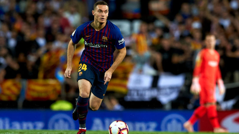 Thomas Vermaelen in action during the week 8 of La Liga match between Valencia CF and FC Barcelona at Mestalla Stadium in Valencia, Spain on October 7, 2018.  (Photo by Jose Breton/NurPhoto via Getty Images)