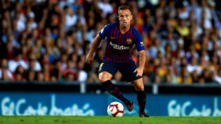 Arthur Melo in action during the week 8 of La Liga match between Valencia CF and FC Barcelona at Mestalla Stadium in Valencia, Spain on October 7, 2018.  (Photo by Jose Breton/NurPhoto via Getty Images)