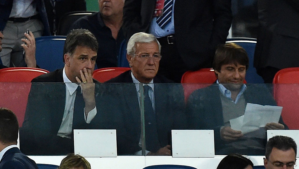ROME, ITALY - MAY 21: Michele Uva, Marcello Lippi and Antonio Conte during the TIM Cup match between AC Milan and Juventus FC at Stadio Olimpico on May 21, 2016 in Rome, Italy.  (Photo by Giuseppe Bellini/Getty Images)