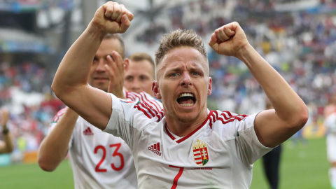 MARSEILLE, FRANCE - JUNE 18:  Balazs Dzsudzsak of Hungary celebrates at full time during  the UEFA EURO 2016 Group F match between Iceland and Hungary at Stade Velodrome on June 18, 2016 in Marseille, France. (Photo by Ian MacNicol/Getty Images)