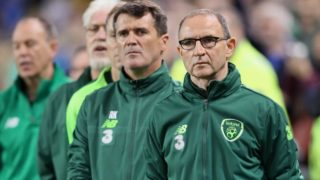 Republic of Ireland's assistant manager Roy Keane and Republic of Ireland's manager Martin O'Neill (R) are pictured on the touchline before the UEFA Nations League football match between Republic of Ireland and Wales at Aviva Stadium in Dublin, Ireland on October 16, 2018. - Wales won the game 1-0. (Photo by Paul FAITH / AFP)