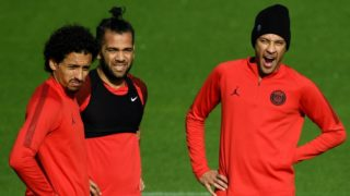 (from L) Paris Saint-Germain's Brazilian defender Marquinhos, Paris Saint-Germain's Brazilian defender Dani Alves and Paris Saint-Germain's Brazilian forward Neymar take part in a training session in Saint-Germain-en-Laye, western Paris on November 5, 2018, on the eve of the team's Champions' League football match against Napoli. (Photo by FRANCK FIFE / AFP)