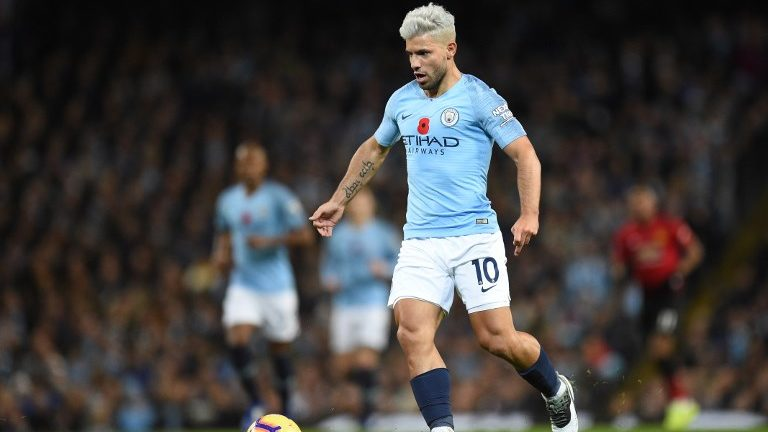 Manchester City's Argentinian striker Sergio Aguero runs during the English Premier League football match between Manchester City and Manchester United at the Etihad Stadium in Manchester, north west England, on November 11, 2018. (Photo by Oli SCARFF / AFP) / RESTRICTED TO EDITORIAL USE. No use with unauthorized audio, video, data, fixture lists, club/league logos or 'live' services. Online in-match use limited to 120 images. An additional 40 images may be used in extra time. No video emulation. Social media in-match use limited to 120 images. An additional 40 images may be used in extra time. No use in betting publications, games or single club/league/player publications. /