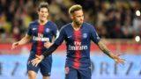 "Paris Saint-Germain's Brazilian forward Neymar celebrates after he scored a penalty during the French L1 football match Monaco vs Paris Saint-Germain on November 11, 2018 at the ""Louis II Stadium"" in Monaco. (Photo by YANN COATSALIOU / AFP)"
