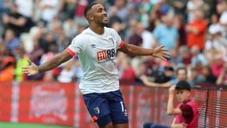 Bournemouth striker Callum Wilson (13) scores a goal to make it 1-1 during the Premier League match between West Ham United and Bournemouth at the London Stadium, London, England on August 18th , 2018, Photo Bennett Dean / ProSportImages / DPPI