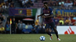 Samuel Umtiti of FC Barcelona with the ball during the UEFA Champions League group B match between FC Barcelona and PSV Eindhoven at Camp Nou on September 18, 2018 in Barcelona, Spain (Photo by David Aliaga/NurPhoto)