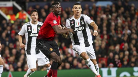 Juventus forward Cristiano Ronaldo (7) fights for the ball against Manchester United midfielder Paul Pogba (6) during the Uefa Champions League Group Stage football match n.3 MANCHESTER UNITED - JUVENTUS on 23/10/2018 at the Old Trafford in Manchester, England. (Photo by Matteo Bottanelli/NurPhoto)