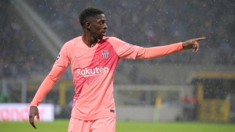 Ousmane Dembélé #11 of FC Barcelona during  the UEFA Champions League group B match between FC Internazionale and FC Barcelona at Stadio Giuseppe Meazza on November 06, 2018 in Milan, Italy. (Photo by Giuseppe Cottini/NurPhoto)