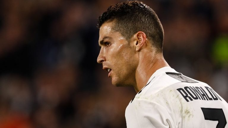Cristiano Ronaldo of Juventus looks on during the Group H match of the UEFA Champions League between Juventus FC and Manchester United FC on November 7, 2018 at Juventus Stadium in Turin, Italy. (Photo by Mike Kireev/NurPhoto)