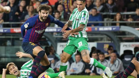Gerard Pique and Tello during the match between FC Barcelona and Real Betis Balompie, corresponding to the week 12 of the spanish league, played at the Camp Nou Stadium on 11th October 2018 in Barcelona, Spain.   -- (Photo by Urbanandsport/NurPhoto)