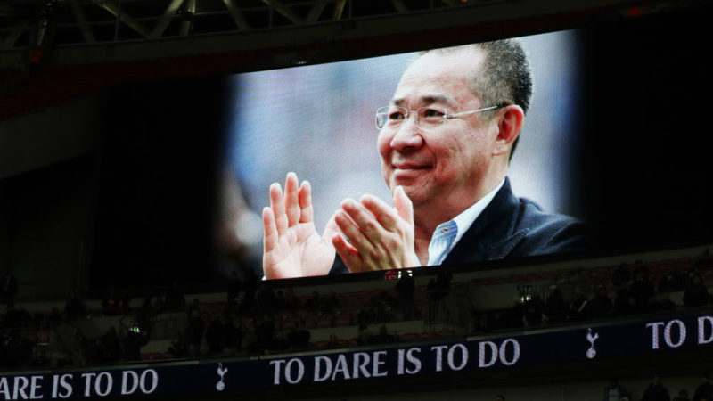 LONDON, ENGLAND - OCTOBER 29:  An image of Leicester City Chairman Vichai Srivaddhanaprabha is shown on the scoreboard during the Premier League match between Tottenham Hotspur and Manchester City at Wembley Stadium on October 29, 2018 in London, United Kingdom.  (Photo by Catherine Ivill/Getty Images)