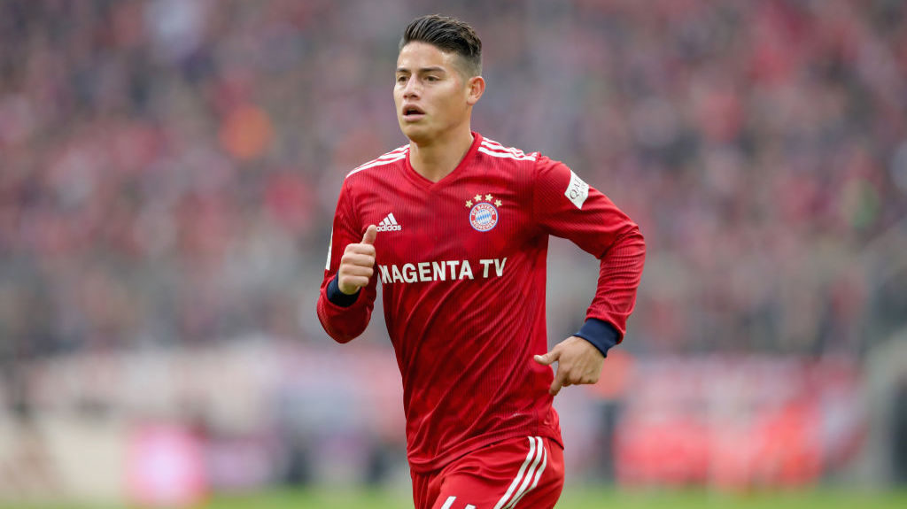 MUNICH, GERMANY - NOVEMBER 03:  James Rodriguez of Bayern Muenchen looks on during the Bundesliga match between FC Bayern Muenchen and Sport-Club Freiburg at Allianz Arena on November 3, 2018 in Munich, Germany.  (Photo by Alexander Hassenstein/Bongarts/Getty Images)