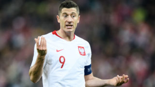 GDANSK, POLAND - NOVEMBER 15: Robert Lewandowski of Poland reacts during International Friendly match between Poland and Czech Republic on November 15, 2018 in Gdansk, Poland. (Photo by Rafal Oleksiewicz/PressFocus/MB Media/Getty Images)