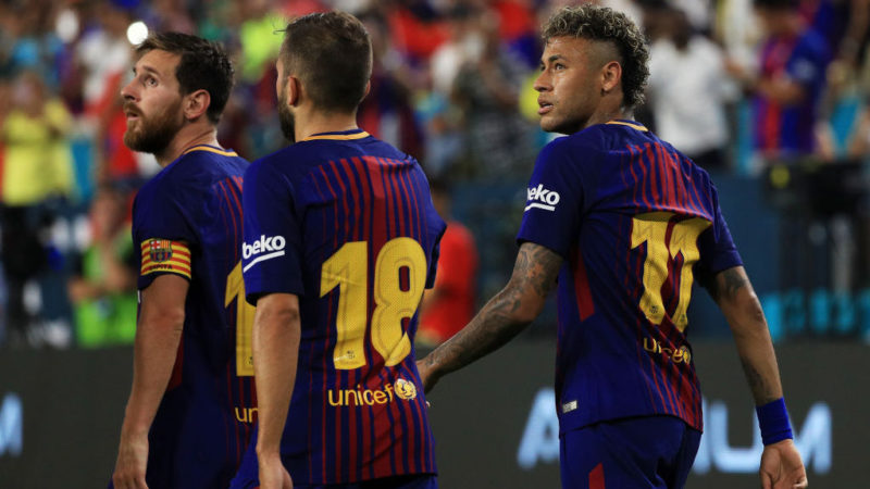 MIAMI GARDENS, FL - JULY 29:  Lionel Messi #10, Jordi Alba #18 and Neymar #11 of Barcelona celebrate in the second half against the Real Madrid during their International Champions Cup 2017 match at Hard Rock Stadium on July 29, 2017 in Miami Gardens, Florida.  (Photo by Mike Ehrmann/Getty Images)