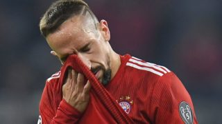 Bayern Munich's French midfielder Franck Ribery reacts during the UEFA Champions League Group E football match Bayern Munich v AEK Athens FC in Munich, southern Germany, on November 7, 2018. (Photo by Christof STACHE / AFP)