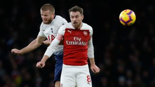 Tottenham Hotspur's English defender Eric Dier (L) vies with Arsenal's Welsh midfielder Aaron Ramsey during the English Premier League football match between Arsenal and Tottenham Hotspur at the Emirates Stadium in London on December 2, 2018. (Photo by Ian KINGTON / IKIMAGES / AFP) / RESTRICTED TO EDITORIAL USE. No use with unauthorized audio, video, data, fixture lists, club/league logos or 'live' services. Online in-match use limited to 45 images, no video emulation. No use in betting, games or single club/league/player publications.