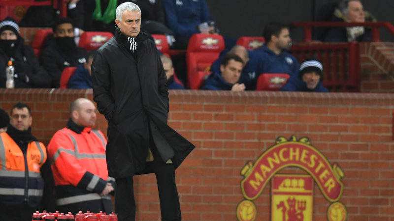 (FILES) In this file photo taken on December 08, 2018 Manchester United's Portuguese manager Jose Mourinho looks on during the English Premier League football match between Manchester United and Fulham at Old Trafford in Manchester, north west England. - Manchester United have sacked manager Jose Mourinho after a dreadful series of results, the Premier League club announced on December 18, 2018. The 55-year-old Portuguese's last match in charge was the 3-1 defeat by league leaders Liverpool on Sunday which left them 19 points behind their opponents. (Photo by Paul ELLIS / AFP) / RESTRICTED TO EDITORIAL USE. No use with unauthorized audio, video, data, fixture lists, club/league logos or 'live' services. Online in-match use limited to 120 images. An additional 40 images may be used in extra time. No video emulation. Social media in-match use limited to 120 images. An additional 40 images may be used in extra time. No use in betting publications, games or single club/league/player publications. /