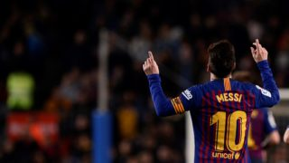 Barcelona's Argentinian forward Lionel Messi celebrates a goal during the Spanish League football match between FC Barcelona and RC Celta de Vigo at the Camp Nou stadium in Barcelona on Decemeber 22, 2018. (Photo by Josep LAGO / AFP)