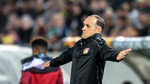(FILES) In this file photo taken on September 20, 2018 Leverkusen's German head coach Heiko Herrlich reacts on the touchline during the UEFA Europa League Group A football match between Ludogorets Razgrad and Bayer Leverkusen at Ludogorets Arena in Razgrad. - Leverkusen has separated after the disappointing first half of the season from head coach Heiko Herrlich. The Rhinelanders confirmed this on December 23, 2018, one day after Leverkusen's 3-1 victory over Hertha BSC. The 47-year-old's successor will be the Dutchman Peter Bosz. (Photo by Dimitar DILKOFF / AFP)