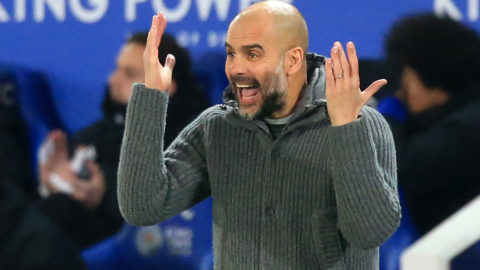Manchester City's Spanish manager Pep Guardiola gestures on the touchline during the English Premier League football match between Leicester City and Manchester City at King Power Stadium in Leicester, central England on December 26, 2018. - Leicester won the game 2-1. (Photo by Lindsey PARNABY / AFP) / RESTRICTED TO EDITORIAL USE. No use with unauthorized audio, video, data, fixture lists, club/league logos or 'live' services. Online in-match use limited to 120 images. An additional 40 images may be used in extra time. No video emulation. Social media in-match use limited to 120 images. An additional 40 images may be used in extra time. No use in betting publications, games or single club/league/player publications. /