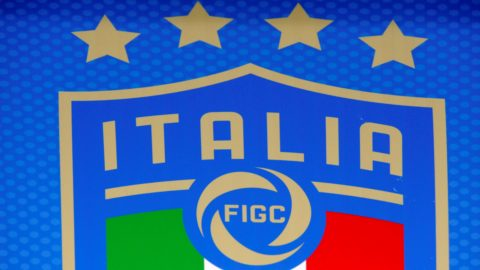 New logo Italia - FIGC on the bench before the match valid for the Qualifying Round of Fifa World Cup Russia 2018 between Italy - Macedonia at Olympic Stadium – Grande Torino Stadium on October 06, 2017 in Turin, Italy.  (Photo by Omar Bai/NurPhoto)
