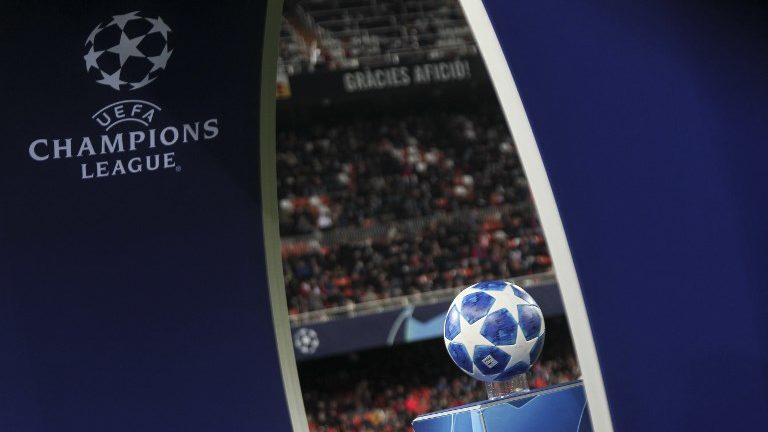 Champions League logo before UEFA Champions League Group H between Valencia CF and Manchester United at Mestalla stadium  on December 12, 2018. (Photo by Jose Miguel Fernandez/NurPhoto) (Photo by Jose Miguel Fernandez/NurPhoto)