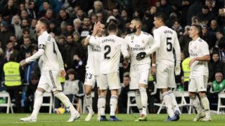 Real Madrid's players celebrate goal during La Liga match between Real Madrid and Valencia CF at Santiago Bernabeu Stadium in Madrid, Spain. December 01, 2018. (Photo by A. Ware/NurPhoto)