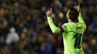 Leo Messi of FC Barcelona celebrates a goal during the La Liga match between Levante UD and FC Barcelona at Ciutat de Valencia Stadium on December 16, 2018 in Valencia, Spain. (Photo by Maria Jose Segovia/NurPhoto)