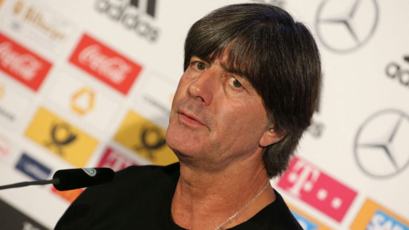 GELSENKIRCHEN, GERMANY - NOVEMBER 19: Coach of Germany Joachim Low answers to the media following the UEFA Nations League A group one match between Germany and Netherlands at Veltins-Arena on November 19, 2018 in Gelsenkirchen, Germany. (Photo by Jean Catuffe/Getty Images)