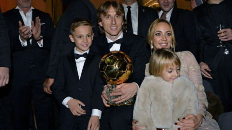 PARIS, FRANCE - DECEMBER 03:  Luka Modric of Croatia and Real Madrid poses with his wife Vanja Bosnic and their children Ivano and Ema after he won the 2018 Ballon D'Or at Le Grand Palais on December 3, 2018 in Paris, France.  (Photo by Aurelien Meunier/Getty Images)