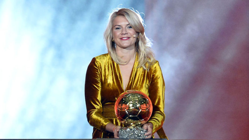 PARIS, FRANCE - DECEMBER 03:  Ada Hegerberg of Sweden and Olympique Lyonnais wins the 2018 Ballon D'Or at Le Grand Palais on December 3, 2018 in Paris, France.  (Photo by Aurelien Meunier/Getty Images)