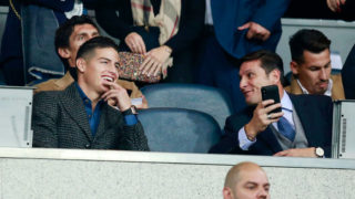 MADRID, SPAIN - DECEMBER 09:  James Rodriguez (L) and Javier Zanetti look on from the stands prior to the second leg of the final match of Copa CONMEBOL Libertadores 2018 between Boca Juniors and River Plate at Estadio Santiago Bernabeu on December 9, 2018 in Madrid, Spain. Due to the violent episodes of November 24th at River Plate stadium, CONMEBOL rescheduled the game and moved it out of Americas for the first time in history.  (Photo by Gonzalo Arroyo Moreno/Getty Images)