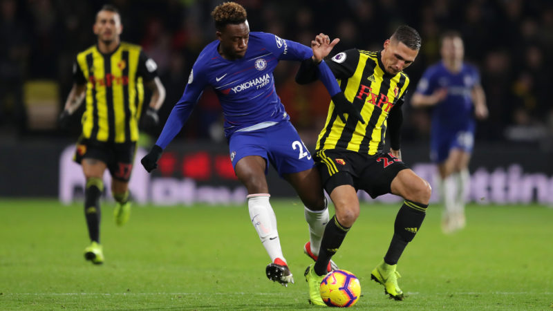 WATFORD, ENGLAND - DECEMBER 26:  Callum Hudson-Odoi of Chelsea battles for possession with Jose Holebas of Watford during the Premier League match between Watford FC and Chelsea FC at Vicarage Road on December 26, 2018 in Watford, United Kingdom.  (Photo by Richard Heathcote/Getty Images)